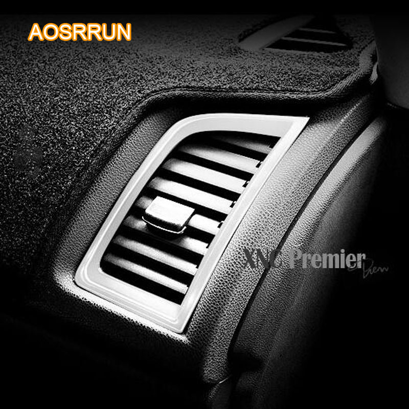 AOSRRUN free shipping Stainless steel LR Air-conditioning Outlet COVER Car Accessories For Mitsubishi ASX 2018 2/pcs car styling 2016 car styling stainless steel handbrake sequined internal decoration for mitsubishi asx 2015