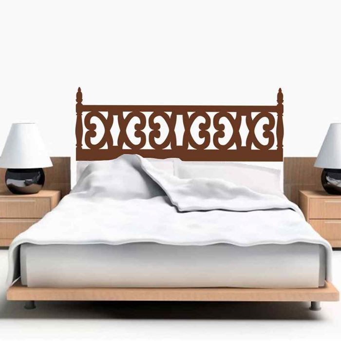 Rustic Carved Wooden StyleTraditional Headboard Mural Wall Decal Vinyl Beds Decor Wall Sticker Bedroom Home Decoration