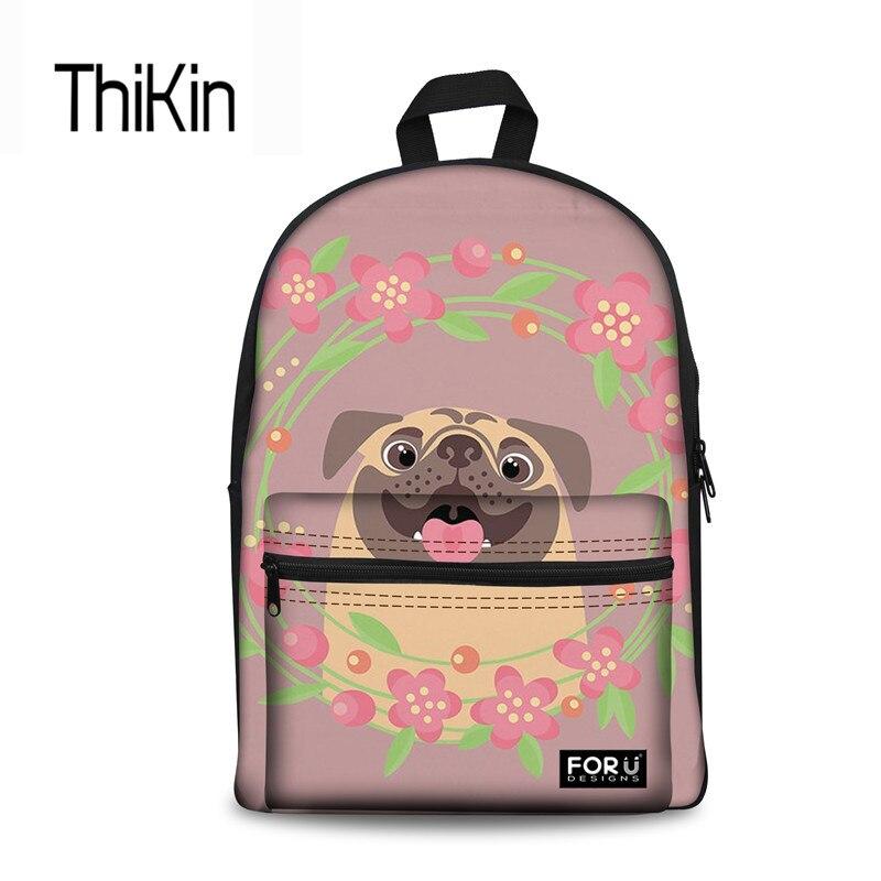 THIKIN холст школьная сумка для девочек милый мультфильм Мопсы принт Подросток школьный рюкзак модные женские туфли Mochilas Escolares Новый