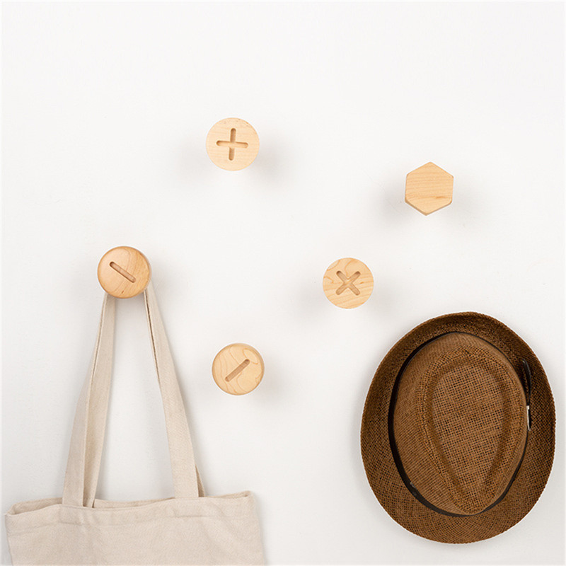 Hooks Wall Mounted Natural Wooden Hooks Single Organizer Hangers Coat Hook Hat Hanger For Home Decoration High Quality