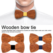Unique Wood Bow Tie Men's Wooden Ties Party Business Butterfly Cravat For Men Kids