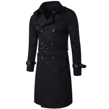 Mens Long British Style Double Breasted Windbreaker Trench Coat