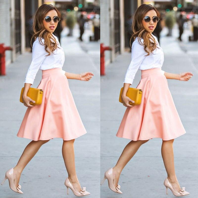 2017 Spring Summer High Waist Knitted Skirts Women Pleated  Skirt Casual Elastic Flared Skirt Female Knee-Length Skirt Woman
