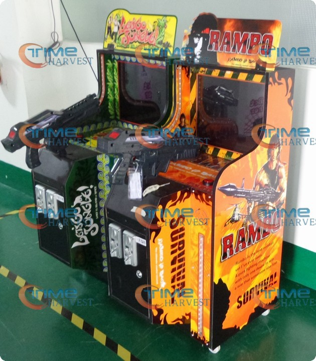 19 inch LCD children shooting game machine MINI firing game arcade cabinet LOST GO JUNGLE or RAMBO shoot game machine for kiddie jamma game console kit vertical screen shooting motherboard raiden v simulator shooting arcade game console kit for game machine