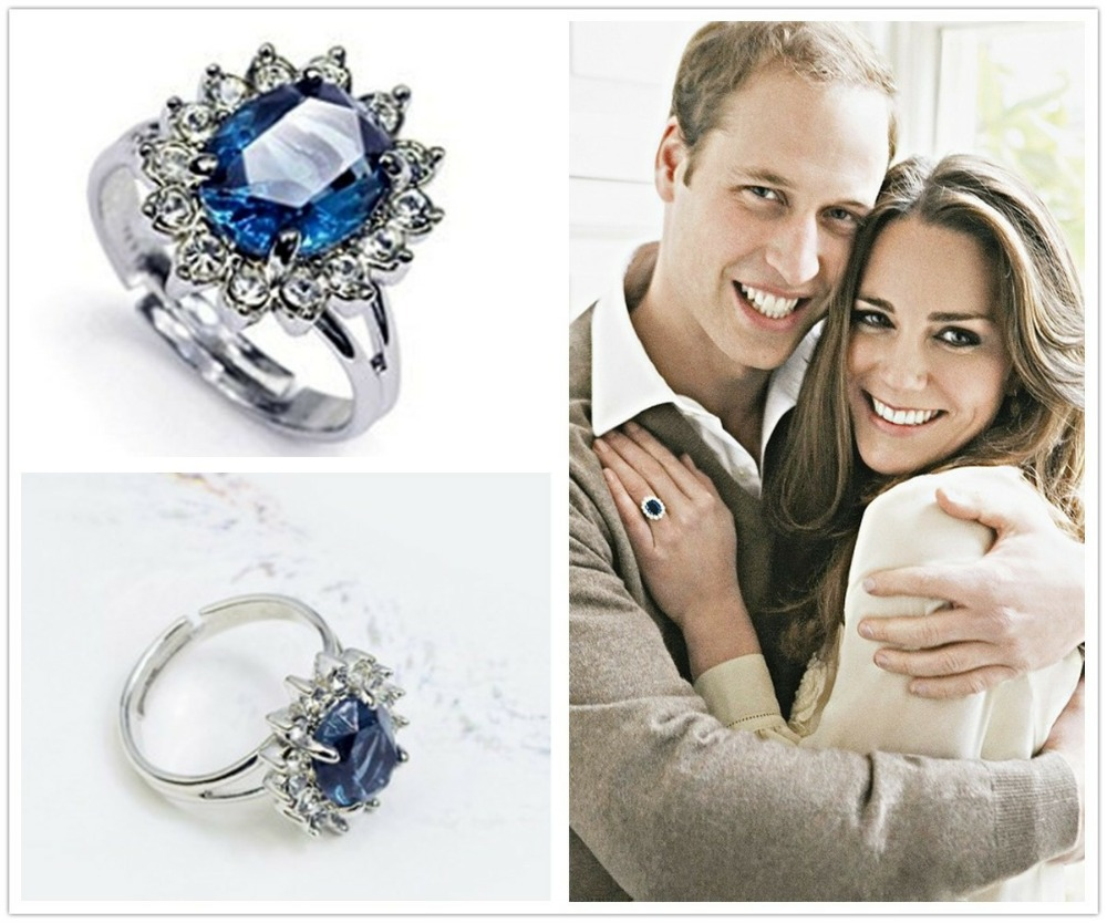 Super Prince William bague de fiançailles Diana mariage bleu saphir CZ  EK42