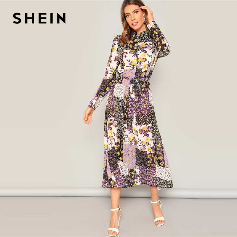 e87e0d69cb86 SHEIN Multicolor Flower And Scarf Print Button Up Belted Floral Dress Women  2019 Spring Stand Collar