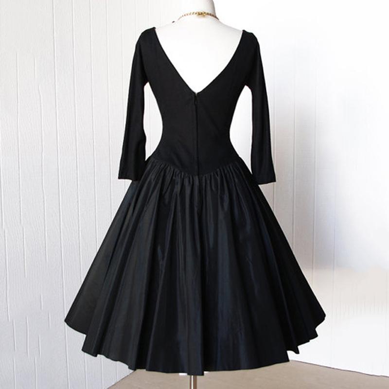 Clocolor Vintage Women Dresses 2017 Spring Black A-Line Party Backless Pullover Dresses Long Sleeve Knee-Length Vintage Dresses 8