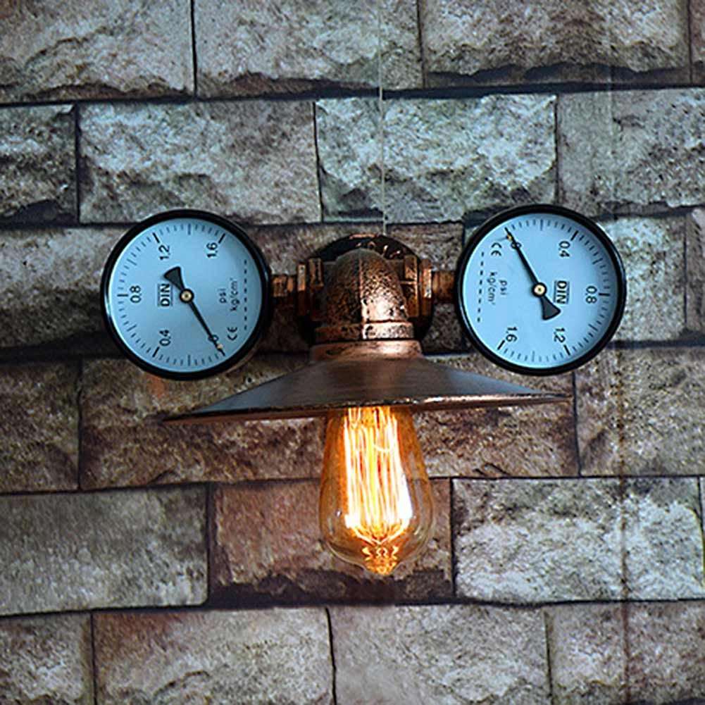 Retro Waterpipe Wall Lamp Iron Plated Lampshade +2PCS Pressure Gauge Home Indoor Kitchen Aisle Wall Light Sconces E26/E27 kitchen aisle stair light wall lamp vintage iron fabric lampshade decor sconces indoor home lighting gift e14 3w led bulb 220v