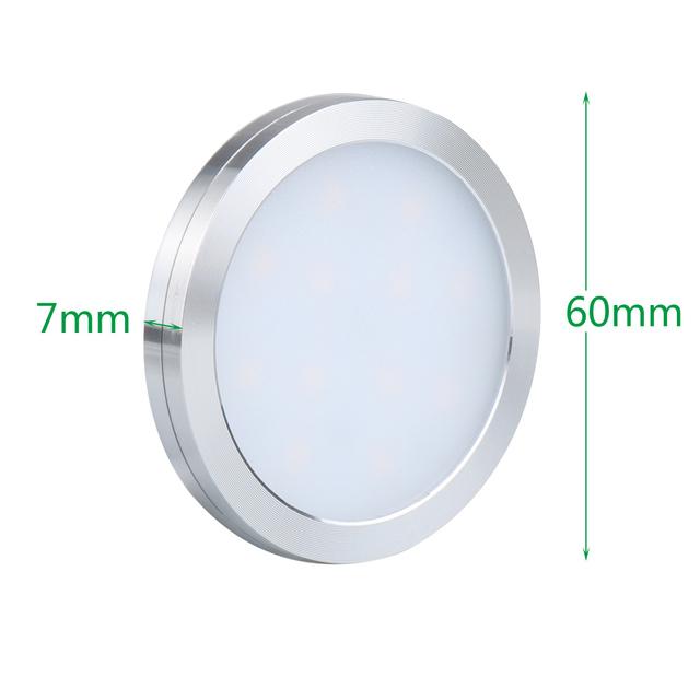 LED Under Cabinet Lights 12V Round Counter Puck Cupboard Wardrobe Kitchen Cuisine Drawer Lamp Shelf Showcase Closet Lighting