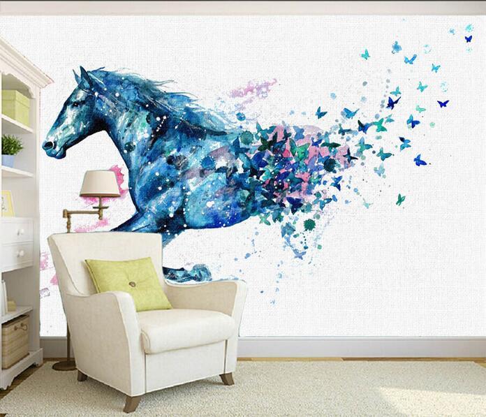 c7a7b005551fe 3d خلفيات جدارية مخصصة غير المنسوجة غرفة خلفيات الخيال الحصان 3d فراشة  اللوحة الجدارية صور 3d جداريات خلفيات