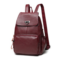 2018 New Pattern Both Shoulders Package Leisure Time Genuine Leather Woman Bag Fashion Portable Ma'am Travel Student Backpack