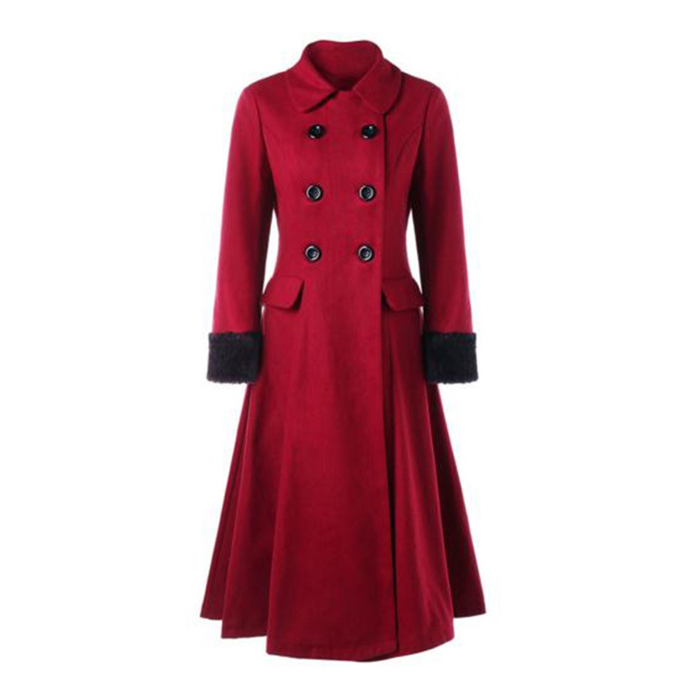 Sisjuly Burgundy Woolen Coat Women Winter Lace Up Pleated Warm Elegant Fashion Vintage Cloak Swing Double Breasted Long Coats