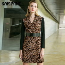 KAMIYING Leopard Print Long Sleeved Dress Turndown Collar Middle Length Autumn Big Code Sexy Back Zipper Female PKHC679