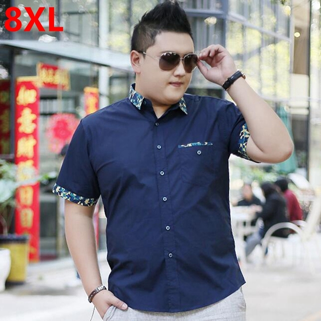 Men s Plus size clothing short-sleeve shirt male Big size casual shirt fat summer  short-sleeve basic 8XL 7XL 6XL 438bedf6f