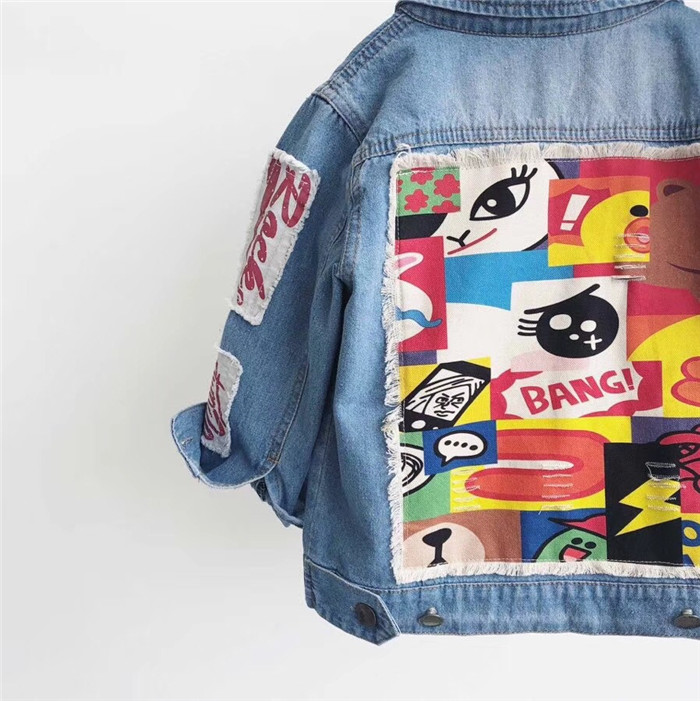 Boys and girls Embroidered patch denim jacket golden embroidered zip up jacket