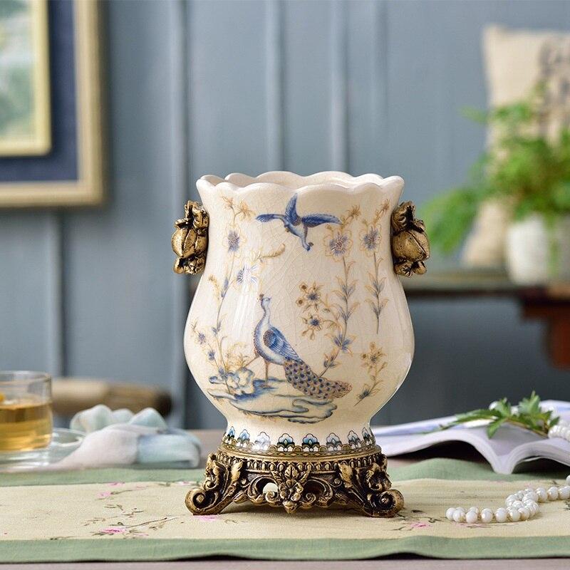 European Retro Vases New Chinese Home Accessories Settings Creative Ceramic Flower Arrangements Handicraft Arrangements Table Va