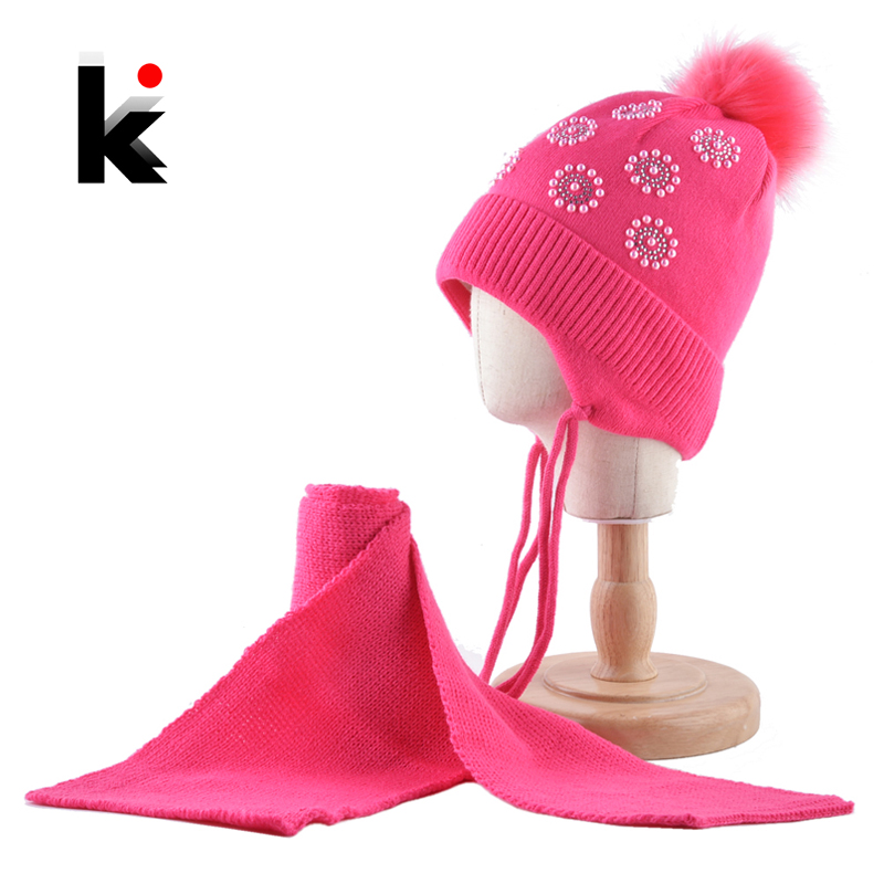 Girls Imitation Fur Pom pom Winter Hat Scarf Set Cute Pearls Knitted ...