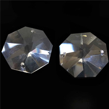 10000pcs/Lot 14mm Crystal Octagon Beads With 2 Holes Transparent Color Free Shipping