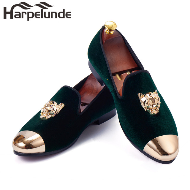 Harpelunde Men Loafer Shoes Animal Buckle Green Velvet Slippers Handmade  Flats With Gold Cap Toe Size 6920fceab176