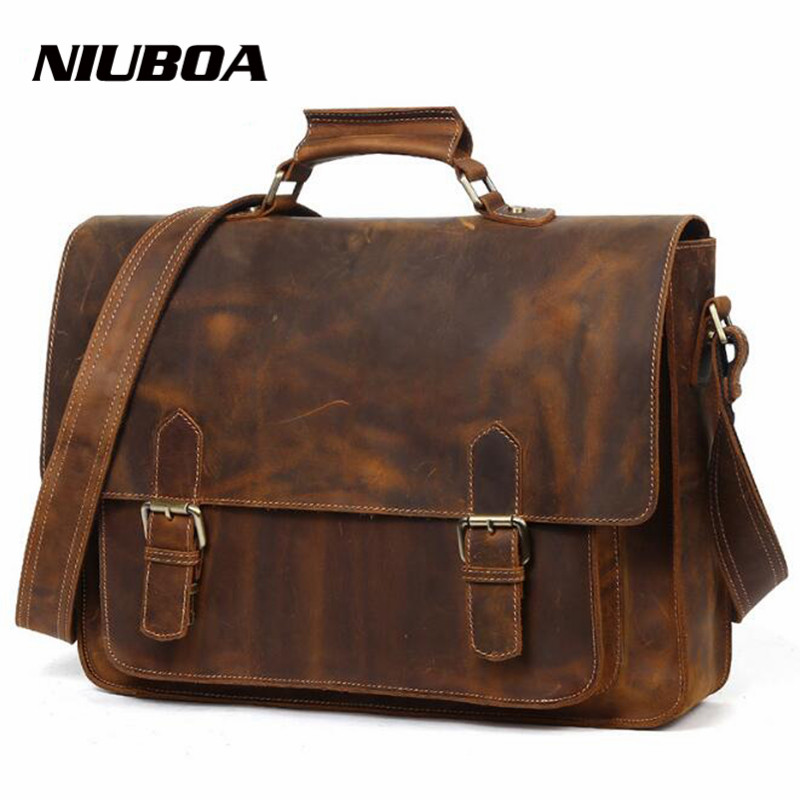 NIUBOA 100% Messenger Bags Male Genuine Leather Bag Briefcase Men's Shoulder Top Leather Laptop Crossbody Bags Big Handbags Tote niuboa genuine leather shoulder bags 100