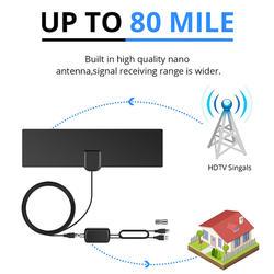 Телевизионная антенна, 80 Mile Long Range Freeview Indoor HD tv цифровая усиленная антенна