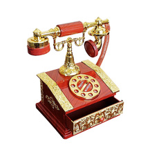 Retro Plastic Carved Telephone Music Box Craft Creative Model Decor Wedding Home Decoration Accessories Birthday Gifts