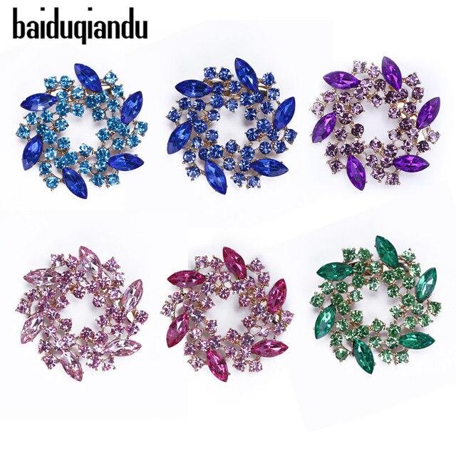 3e6ff6da3b0 baiduqiandu Crystal Rhinestone Flower Brooch Pins Jewelry Women Bride  Wedding Brooches for Scarf Dress Clothing Accessories