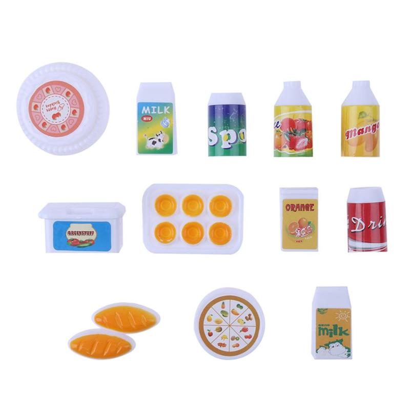 12 PCS Mini Simulation Food Juice Milk Drink Doll Accessories Dollhouse Playing Dolls House Pretend Play Toy Girls Birthday Gift