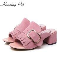Krazing Pot Shoes Women Genuine Leather Peep Toe High Heel Tassel Fringe Slip On Sandals Gradiator