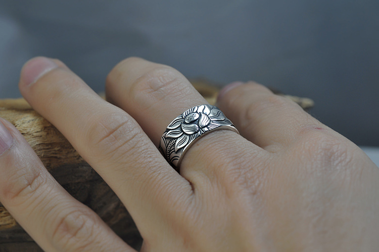 925 Silver Lotus Rings Good Luck Buddha Adjustable Size Trendy Popular S925 Solid Thai Silver Ring for Women Men Jewelry 11