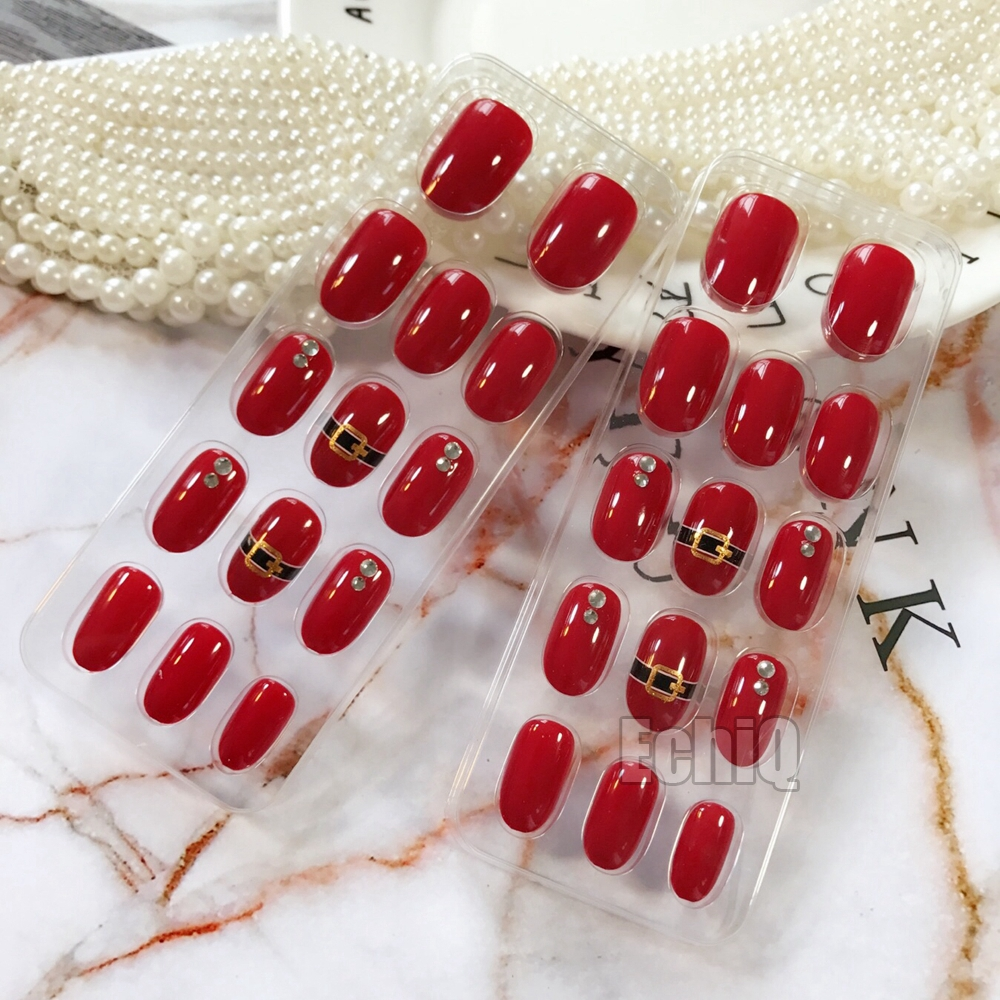 Oval Red UV Gel Nail Art Tips Pre glued Fake Nails Crystal Beads ...