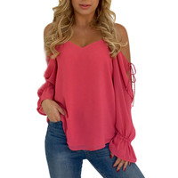 Women Fashion Tops Open Shoulder Long Tie Sleeve Solid Color Shirt Ladies Hot Pink Blouse Roupa