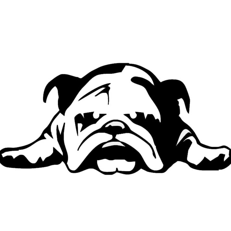 2 Pieces 11*23cm Car Stickers BULLDOG TIRED PUPPY DOG Car Window/Body Decal Reflective Material Strong Adhesion Black/White