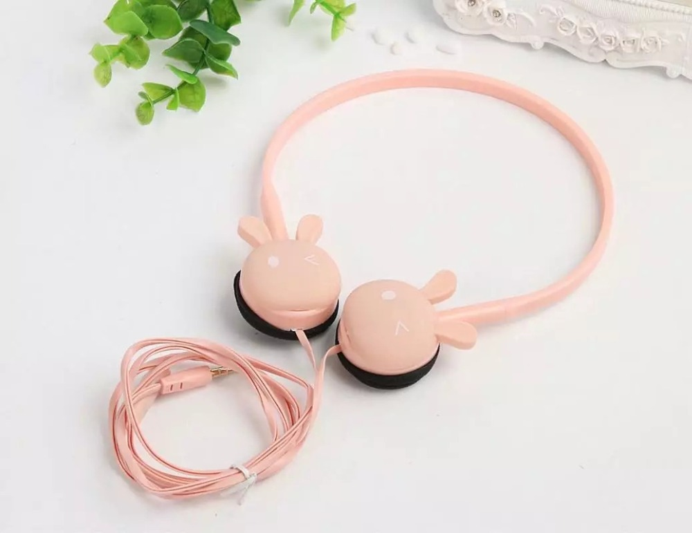 Wire Headphones Cute Cartoon Rabbit Candy Colour 3.5mm Stereo Headphone with Mic for Samsung Xiaomi mp3 Kids Student Birthday Gifts (18)