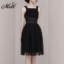 Max Spri 2019 New Collection Office Lady Square Neck Strappy Sleeveless A-line Knee Length Women Party Summer Little Black Dress
