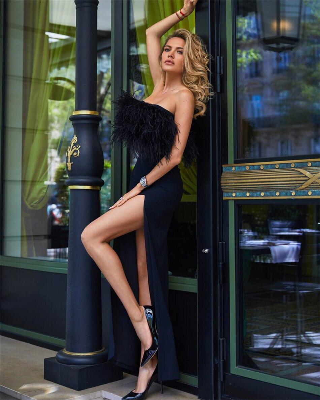 De Femmes Côté Maxi rouge Noir 2018 Bretelles La Bandage Sexy Pour Occasion Club Plume Extrême Partie Robe Porter Rouge Formelle Split Haut TlKc3FJ1