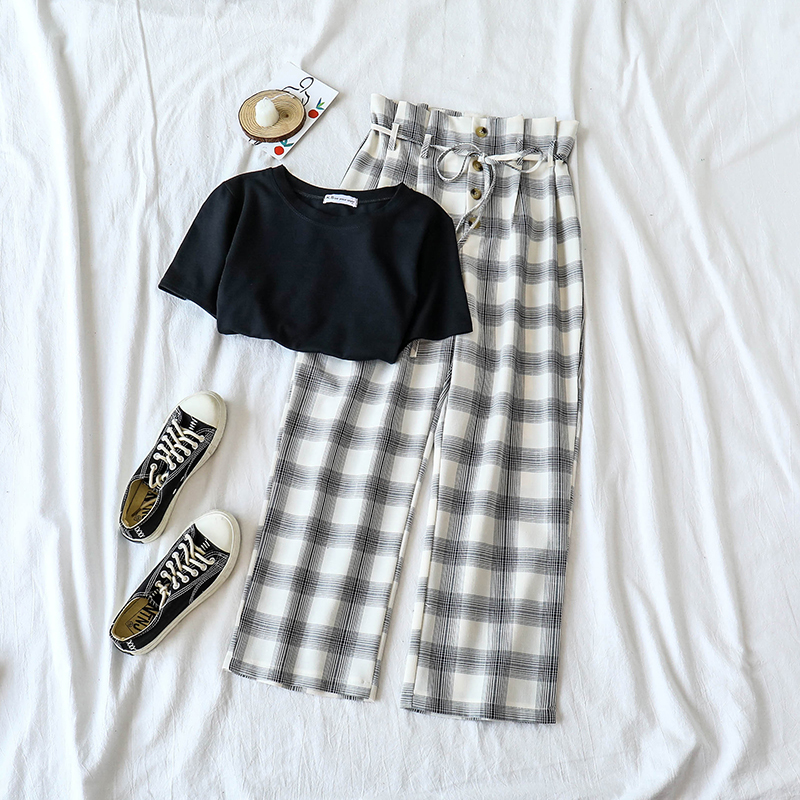 Plaid Long   Pant   Set Women Summer Black Short Sleeve T-shirt + High Waist   Wide     Leg     Pant     Pant   Set Summer Outfits Two Pieces Set