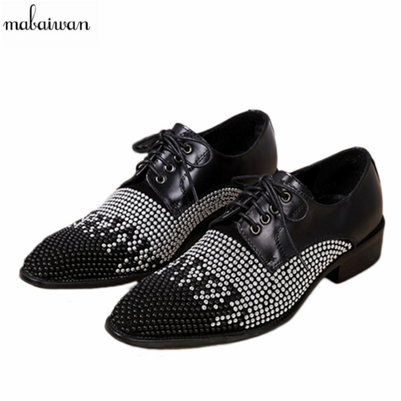 Fashion Rhinestone Newest Men Shoes Lace Up Genuine Leather Party Men Flats Shoes Pointed Toe Men Oxfords Wedding Dress Shoes