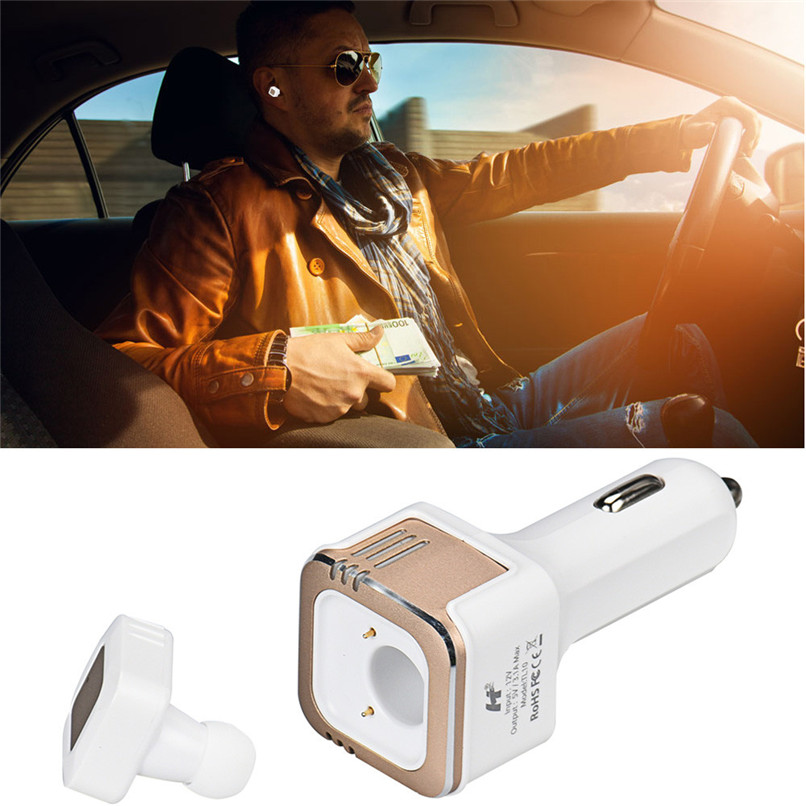 Newest Best Price Fashion 3 in1 Wireless Bluetooth 4.0 Car Charger Dual USB Hands-free Mini Stereo Headset Free Shipping XP15M18 remax 2 in1 mini bluetooth 4 0 headphones usb car charger dock wireless car headset bluetooth earphone for iphone 7 6s android