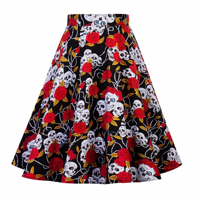 ab5f27341a0 2018 women summer floral print retro elegant skirts skull head special new  design pleated casual skirts c635