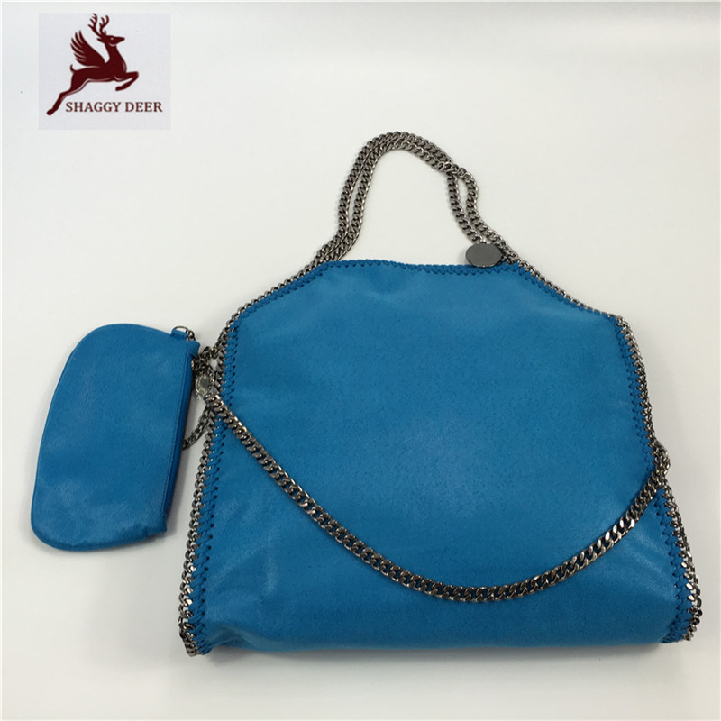 NEW Color Sea Blue Brand Shaggy Deer PVC 3 Chain Luxury Fold Over Stella Tote Bag High Quality Large Capacity Shoulder Bag mini gray shaggy deer pvc quilted chain bag with cover real picture