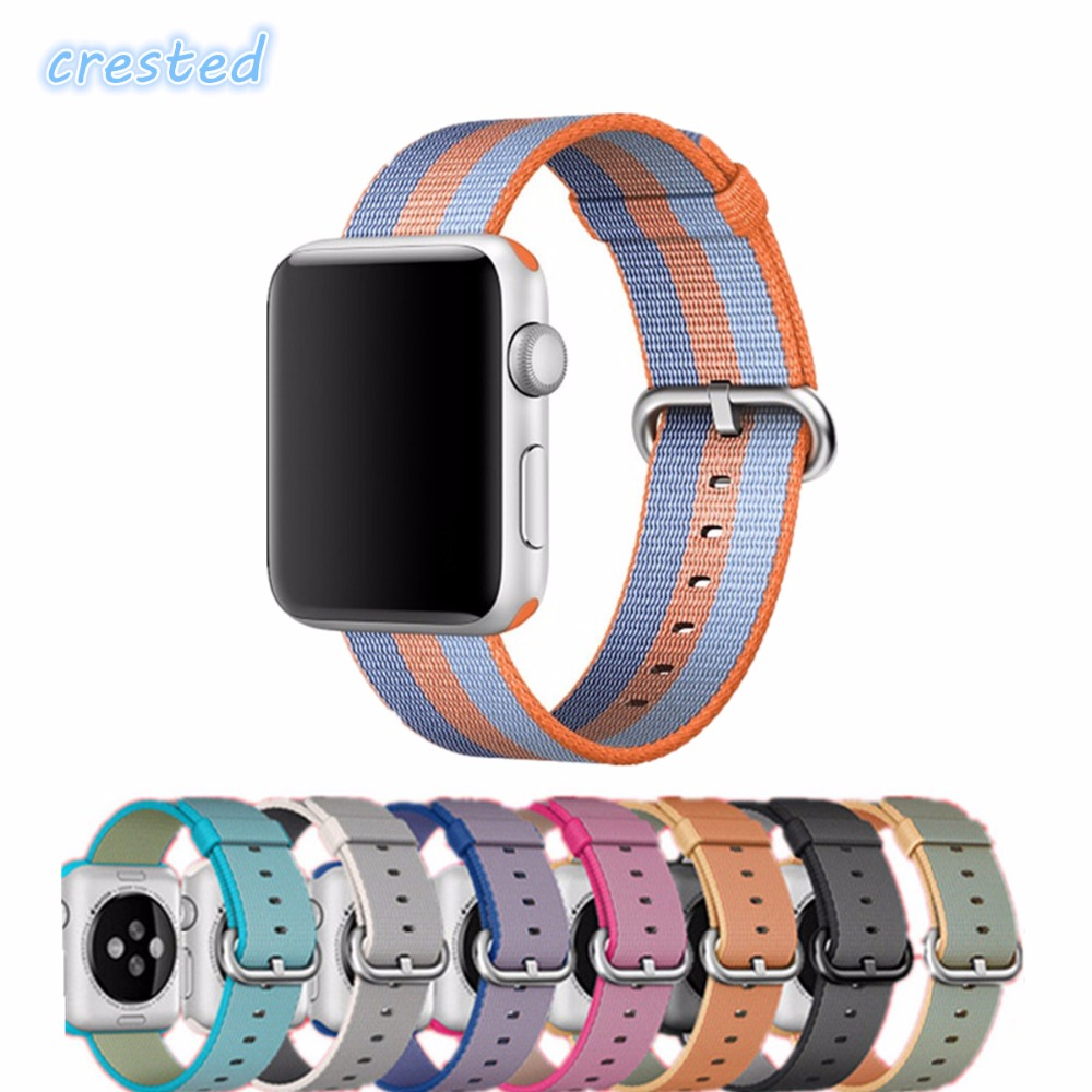 CRESTED Woven Nylon strap For Apple Watch band 38mm 42mm wrist bracelet watchband for iwatch Series1 2 watch Accessories sport silicone band strap for apple watch nike bracelet wrist band watch watchband for apple watches series1 series2 42mm 38mm