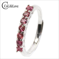 Fashion 925 silver tourmaline ring for office woman 7 pcs natural pink tourmaline silver ring sterling silver tourmaline jewelry