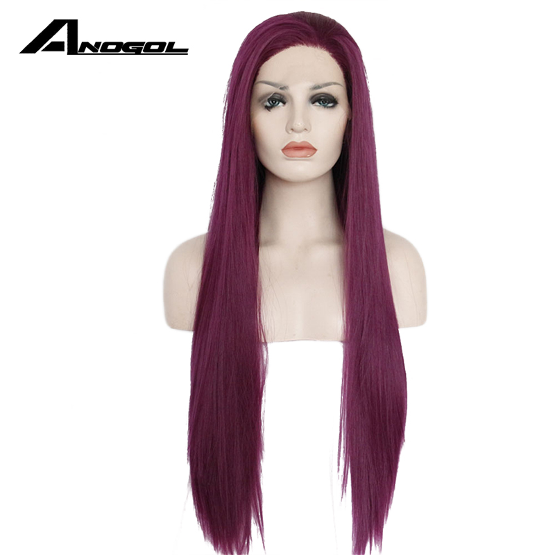 Anogol High Temperature Fiber Perruque Burgundy 360 Wigs Pink Long Straight Wine Red Synthetic Lace Front Wig For Women Costume