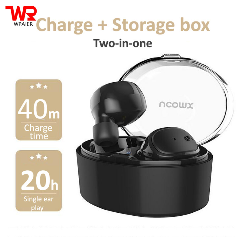 WPAIER U08S Wireless Bluetooth headphones outdoor sport portable mini headsets Business office earphone with charge/Storage box k10 business bluetooth earphone voice command auto answer wireless business bluetooth headset headphones storage box