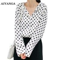 Spring Polka Dot Blouses Women 2018 Long Sleeve V Neck Female Casual Loose Shirts Elegant Vintage