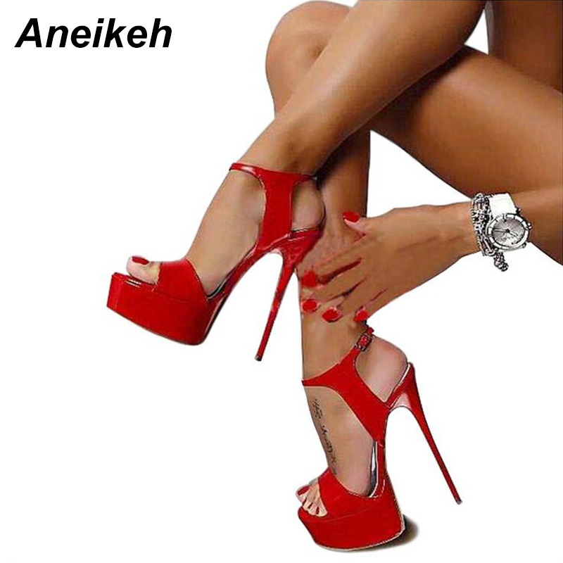 Aneikeh Hot Sales 2019 Summer Style Sexy 16cm Women Sandals High Heels Open Toe Buckles Nightclub Shoe Black Big Size 9