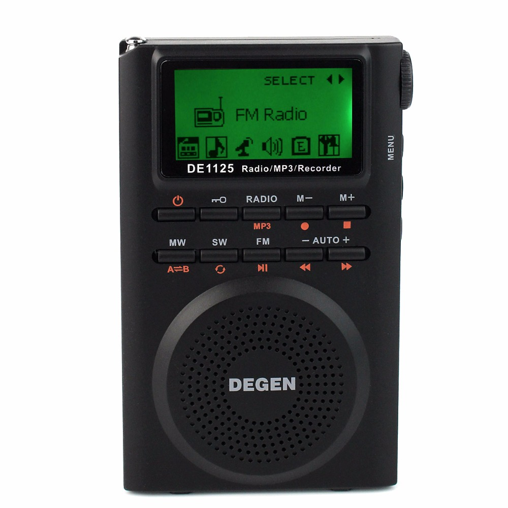 Degen DE1125 DSP Radio Digital Recorder FM Stereo MW SW AM MP3 E-Book 4GB 248 Station Digital Music Player LCD Radio FM D2976A degen de1127 radio digital fm stereo receiver mw sw am with 4gb mp3 player mini digital radio recorder u disk e book d2975a