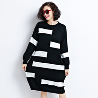 Dress Striped Long Knitted Sweater Dress