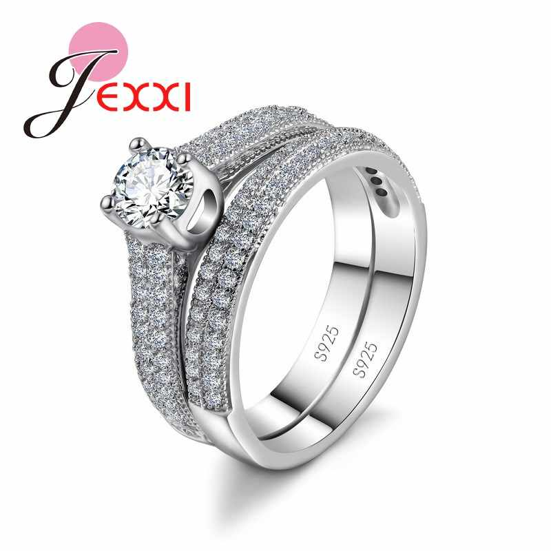 Classic 925 Sterling Silver Couple Rings Set For Men And Women Valentine's Day Love Gift Wedding Engagement Jewelry
